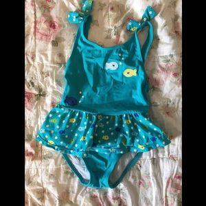 Girls Blue Skirted Fish Print Swimsuit